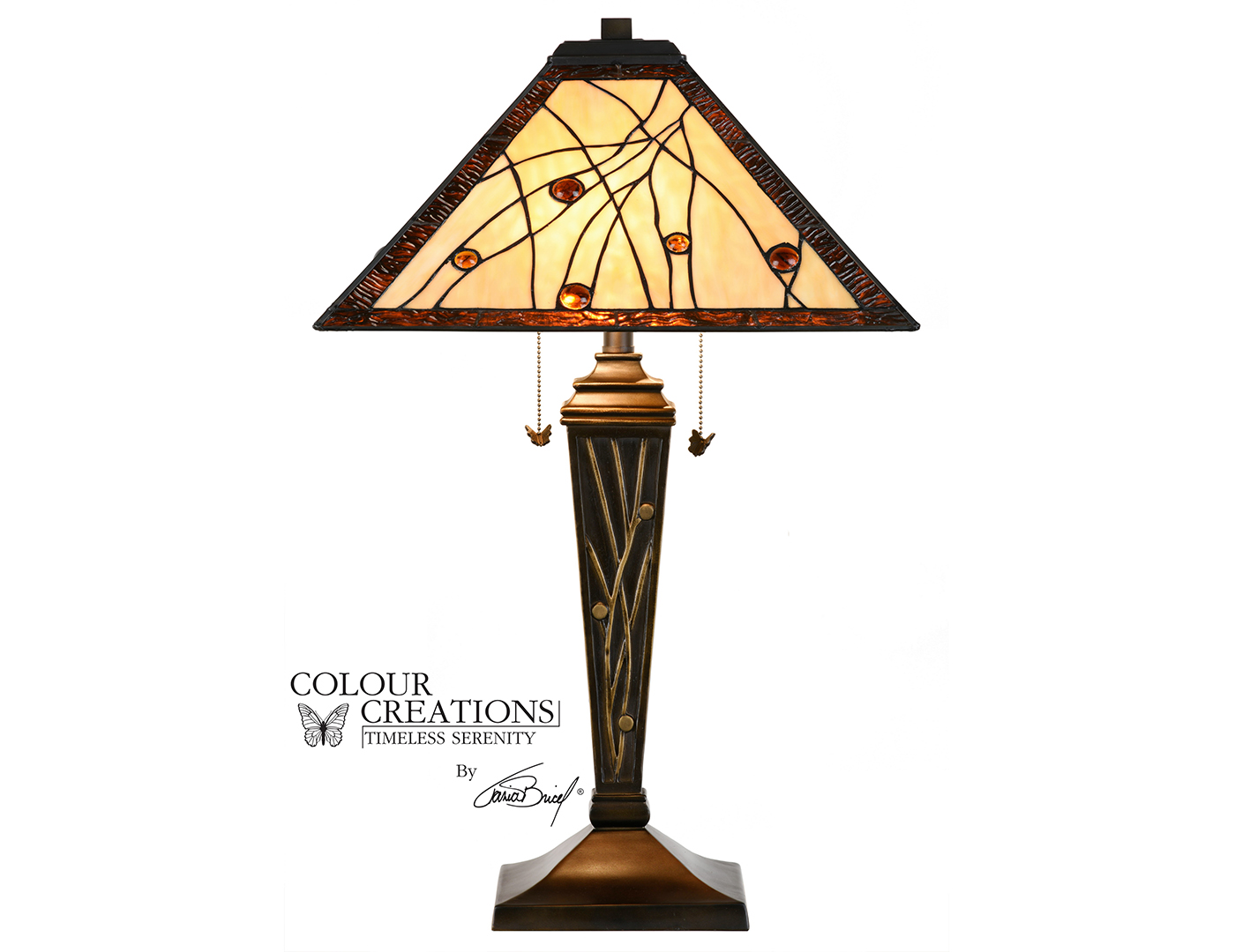 "Ivory and Amber Tiffany-Style Glass Table Lamp 29""H"