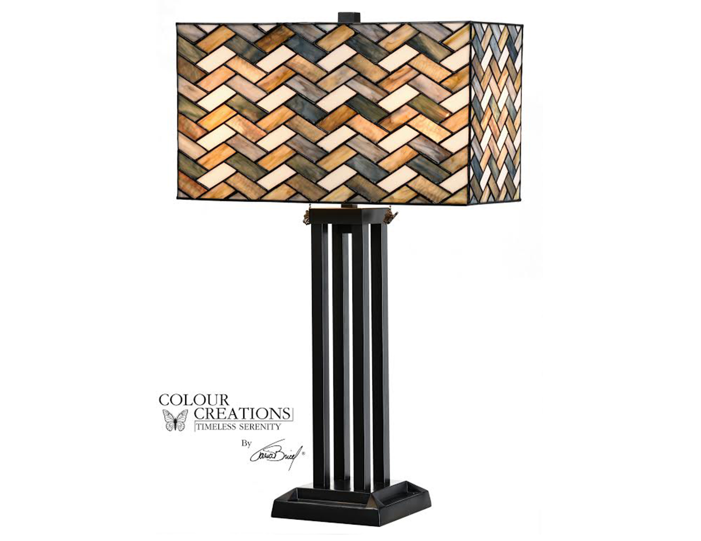 "Grey Weave Rectangle Shade Tiffany-Style Glass Table Lamp 28""H"