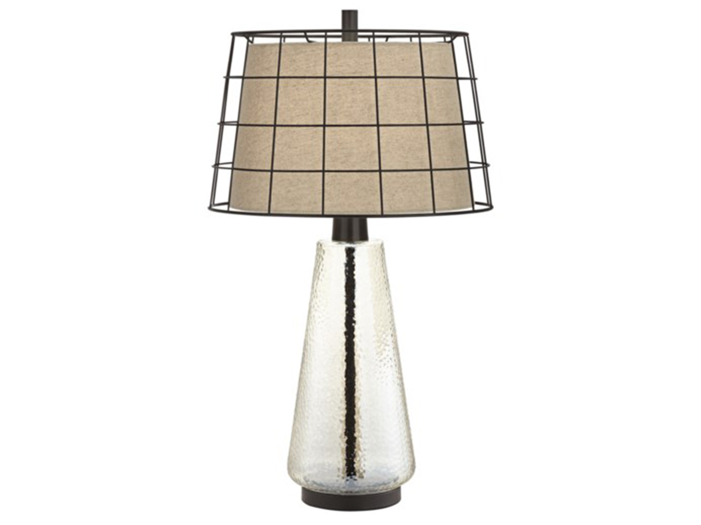 "Seeded Glass With Double Shade Table Lamp 29.5""H"