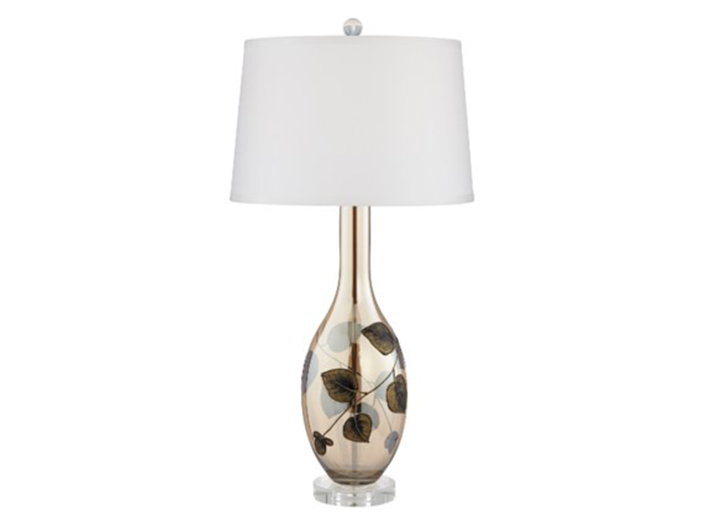 "Leaf Pattern Glass Table Lamp 34""H"