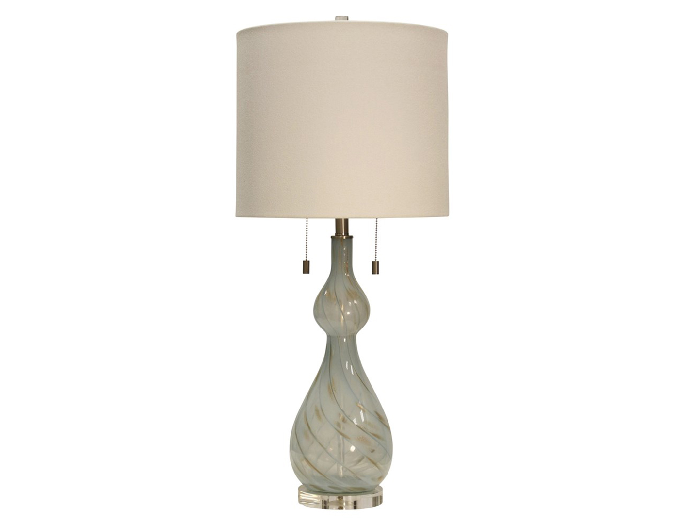 "Ivory Art Glass Table Lamp 36""H"
