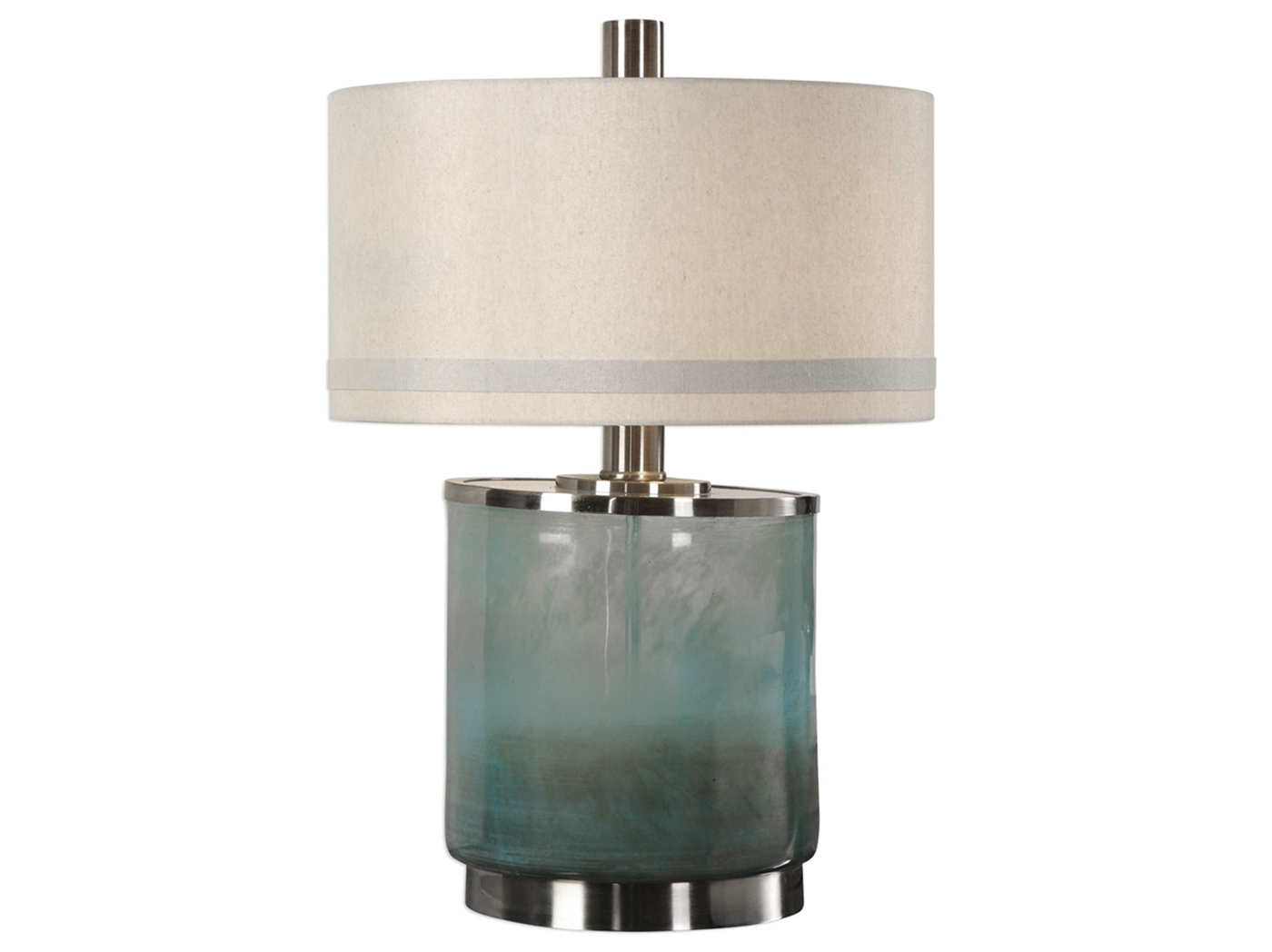 "Smokey Blue Glass Table Lamp 28""H"
