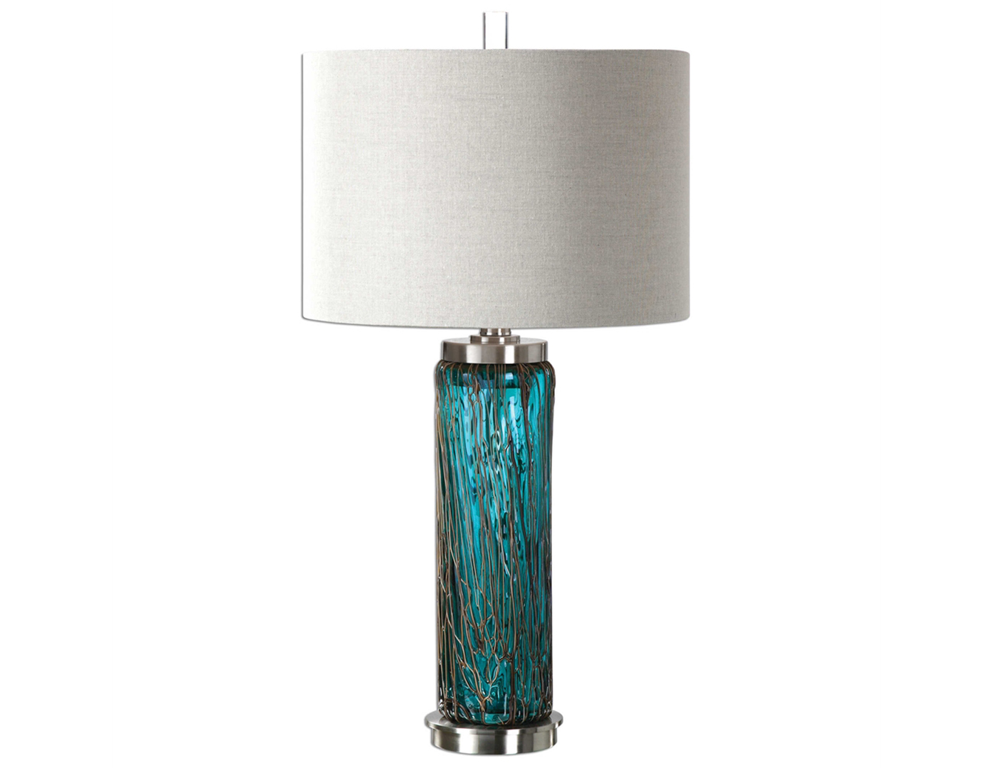 "Blue Glass With Metal Accents Table Lamp 30""H"