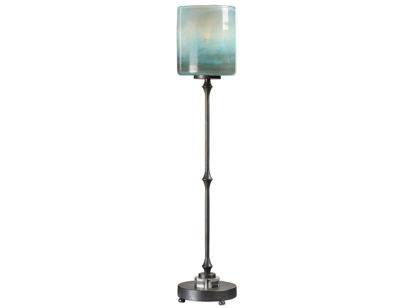 "Blue Art Glass and Bronze Table Lamp 34""H"