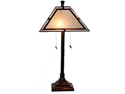 "Libby Cream and Amber Tiffany-Style Glass Table Lamp 26""H"