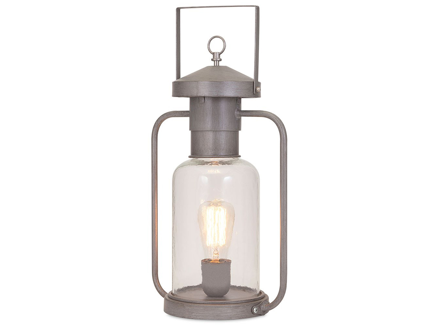 "Silver Metal/Glass Lantern Table Lamp 19""H with Edison Bulb"