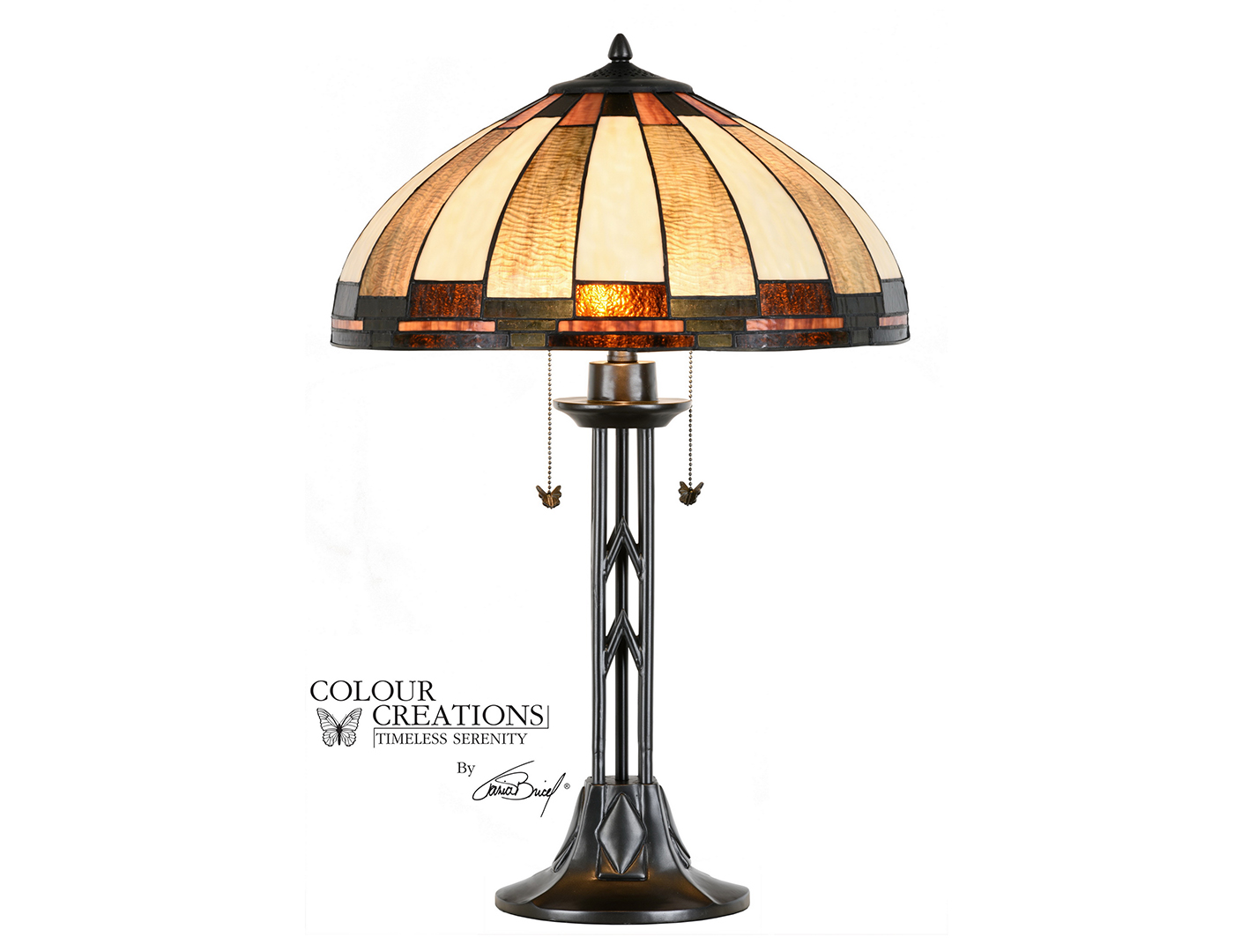 "Tiffany-Style Glass Table Lamp 29.75""H"