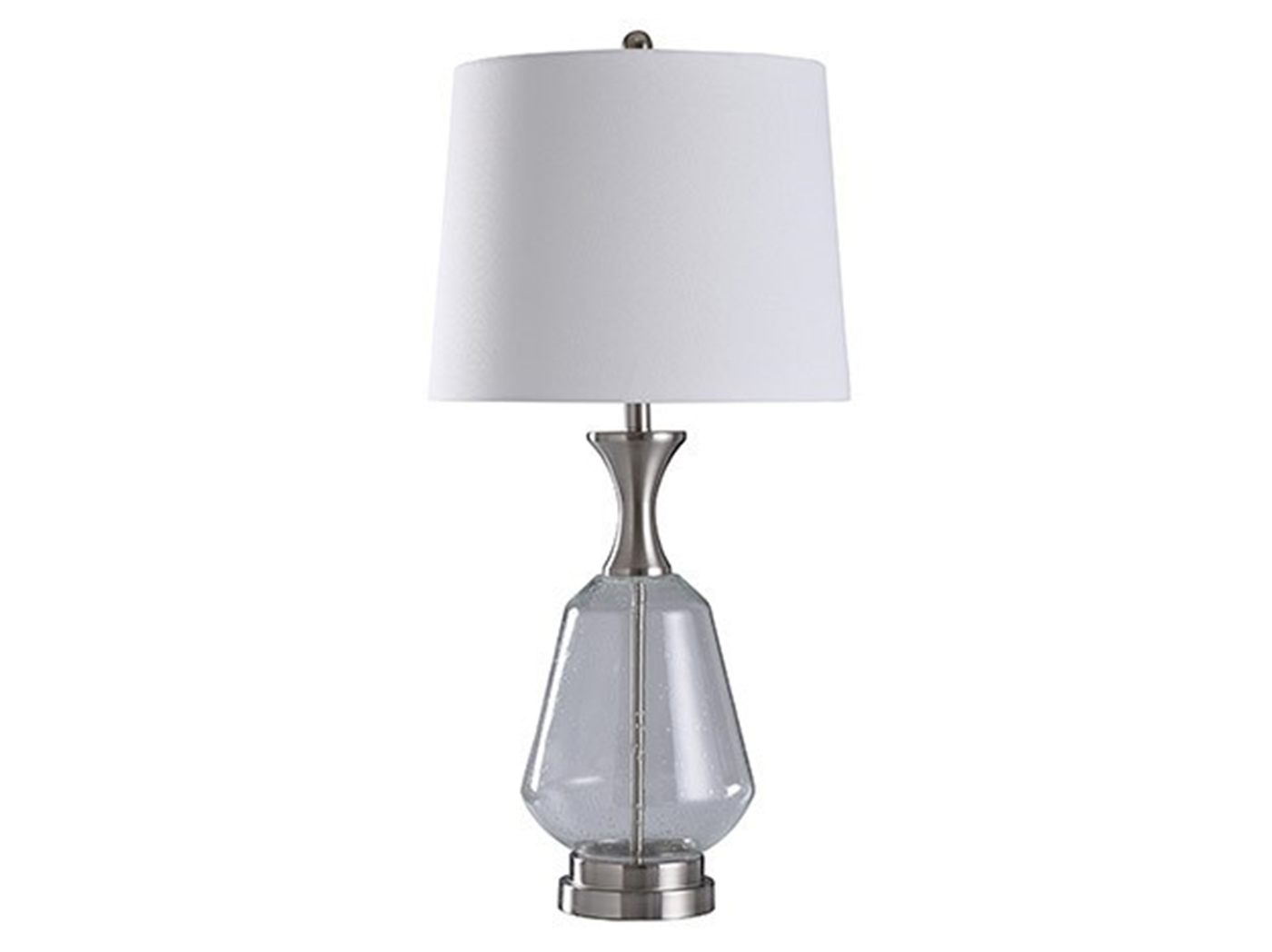 "Glass and Silver Table Lamp 35""H"