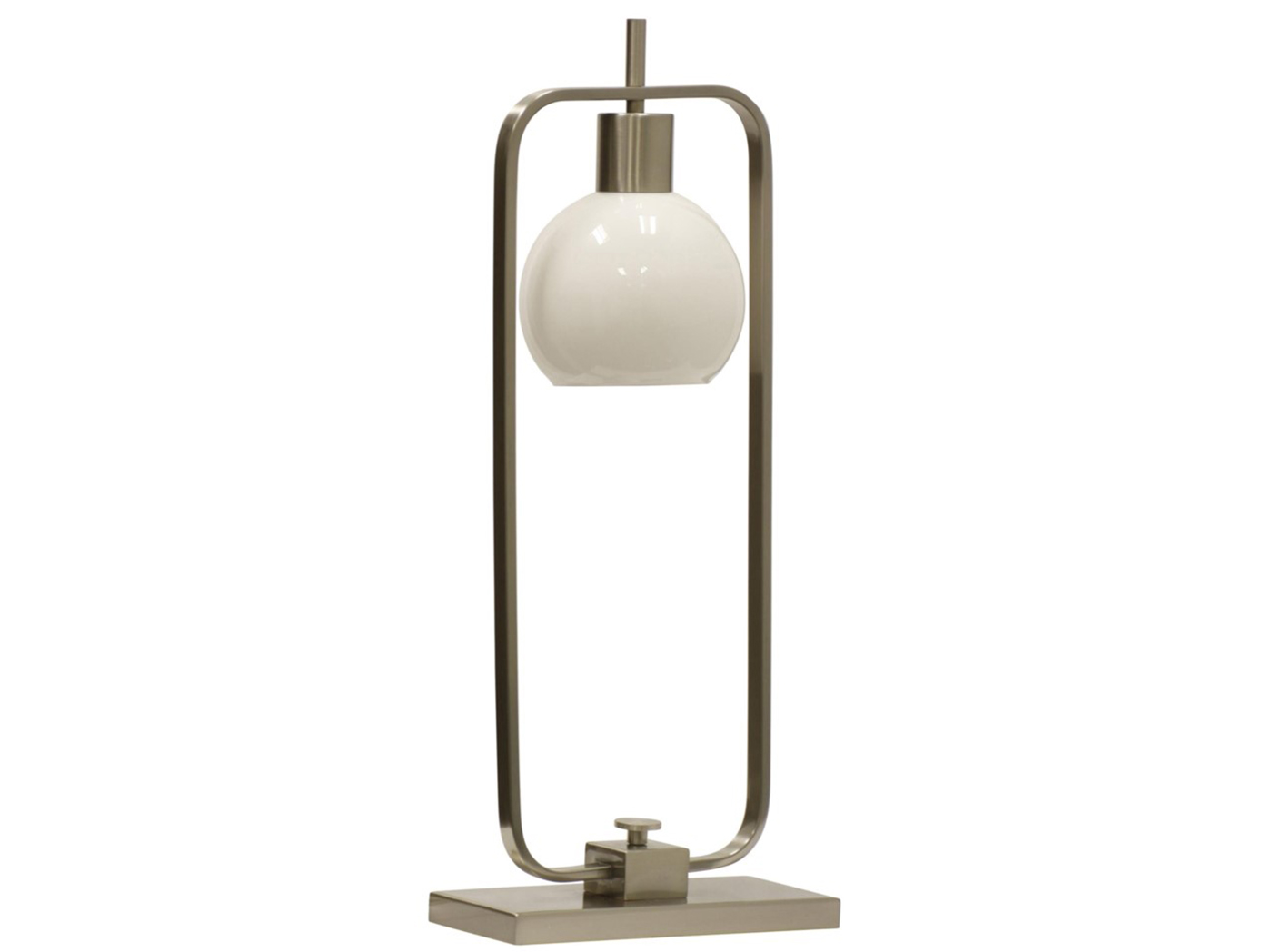 "Brushed Nickel/Glass Shade Table Lamp 28""H"