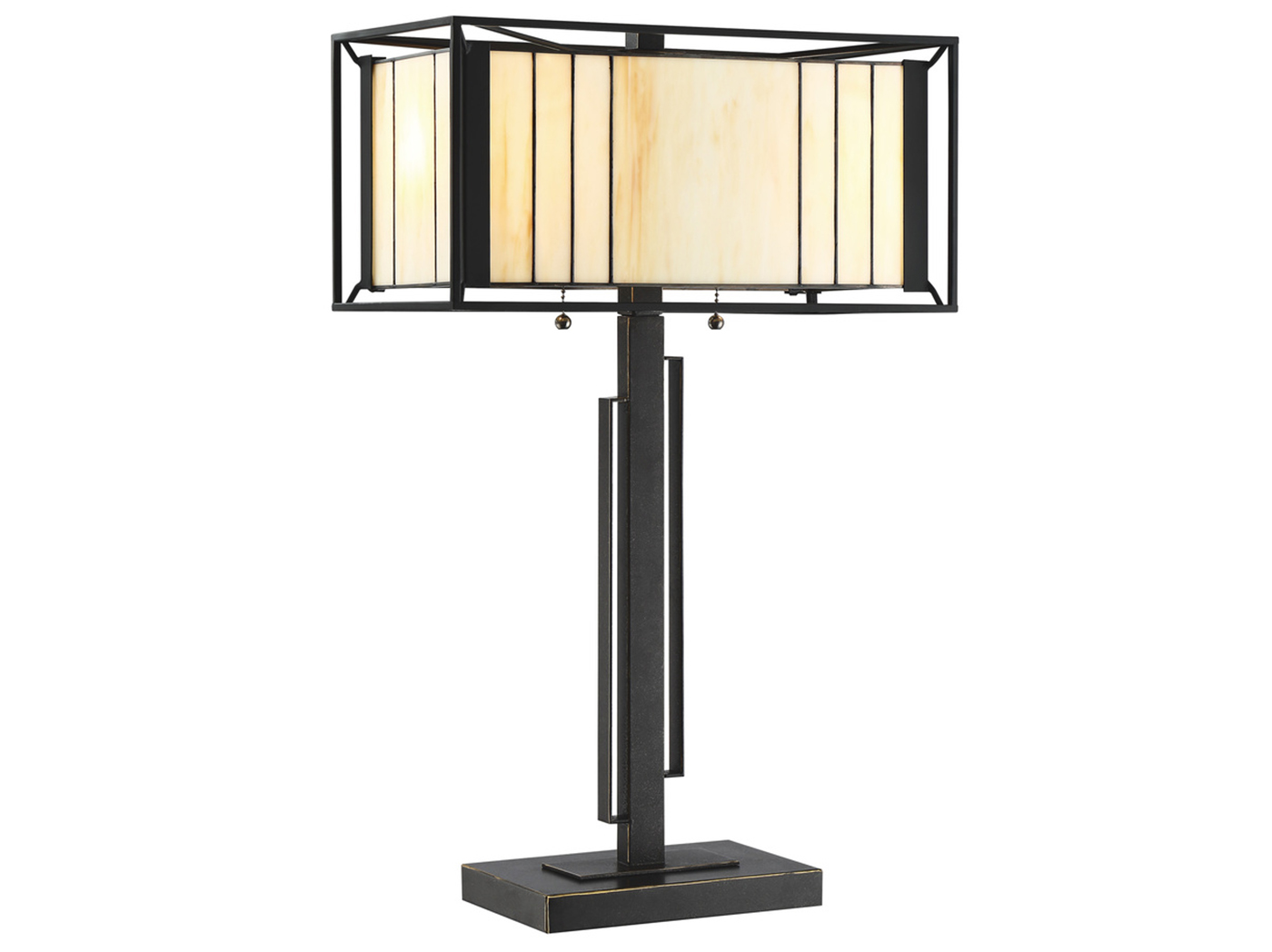 "Black/Amber Tiffany-Style Glass Table Lamp 25""H"