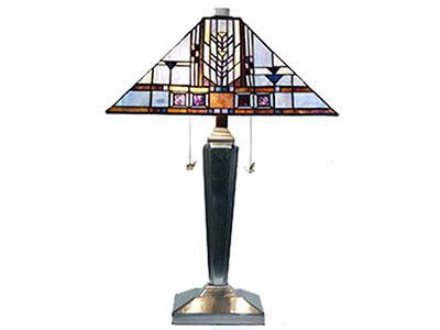 "Wright Amber and Blue Tiffany-Style Glass Table Lamp 24""H"