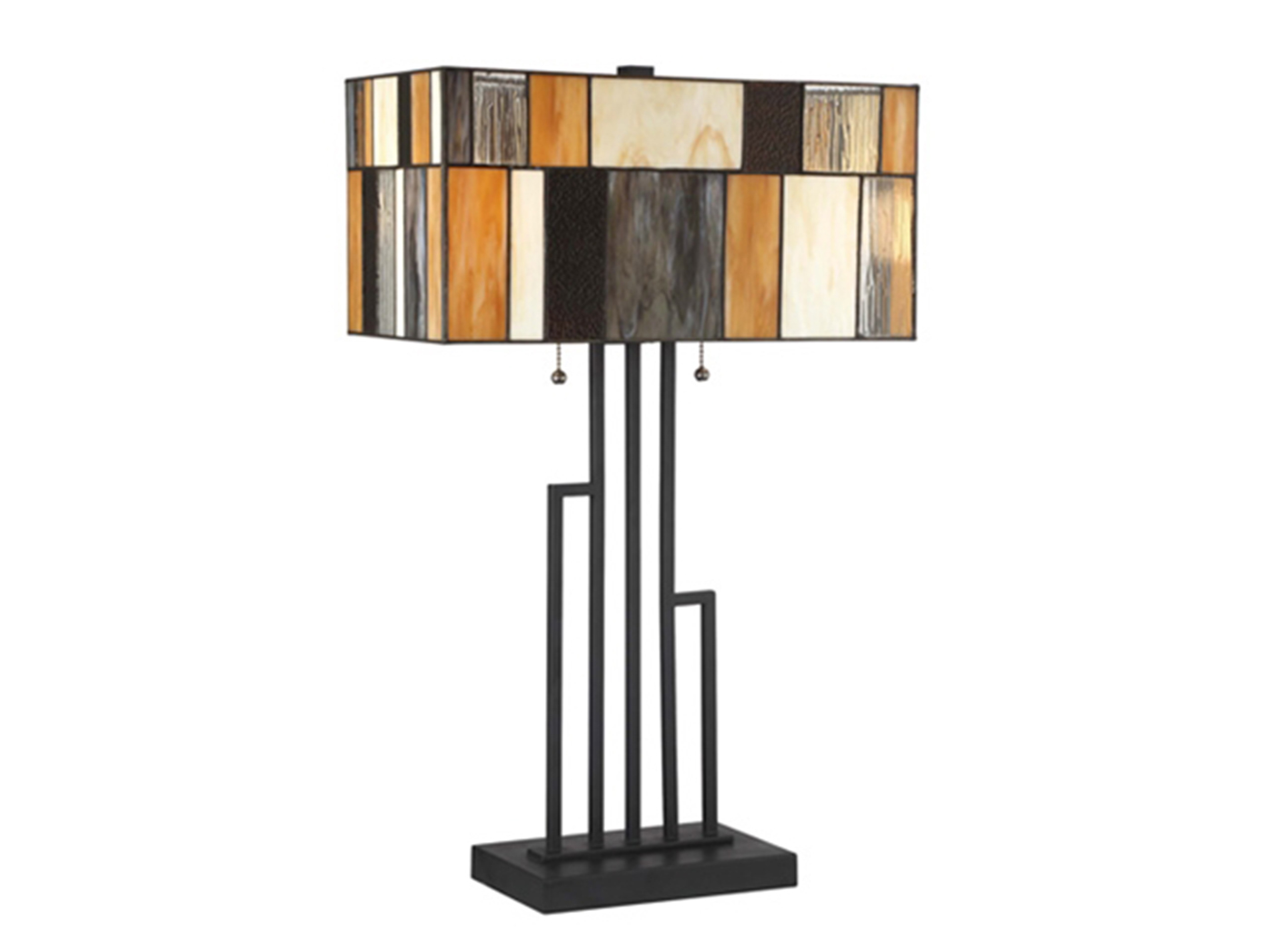 "Black & Mustard Tiffany-Style Glass Table Lamp 26""H"