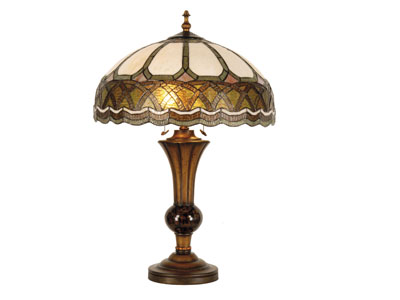 "Camie Green and Cream Tiffany-Style Glass Table Lamp 30""H"