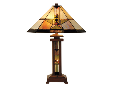 "Draco Tiffany-Style Glass Table Lamp With Night Light 28""H"