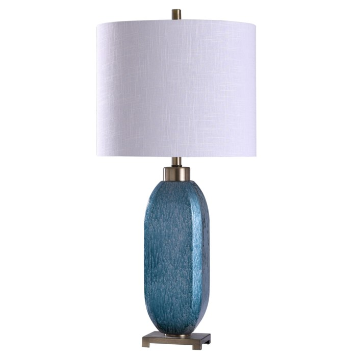 "Artist Blue Glass Table Lamp 34""H"