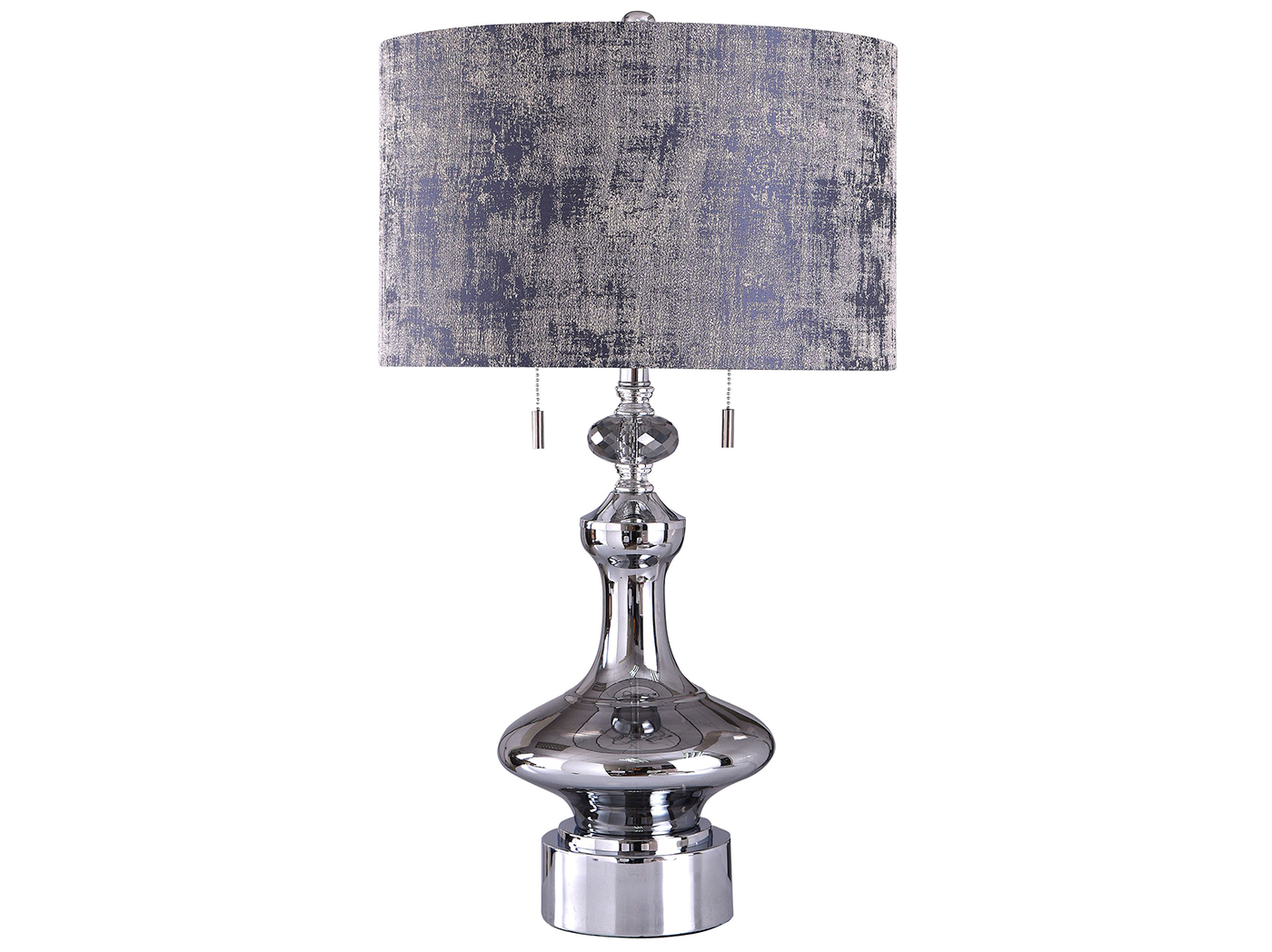 "Chrome Glass with Indigo Shade Table Lamp 30""H"