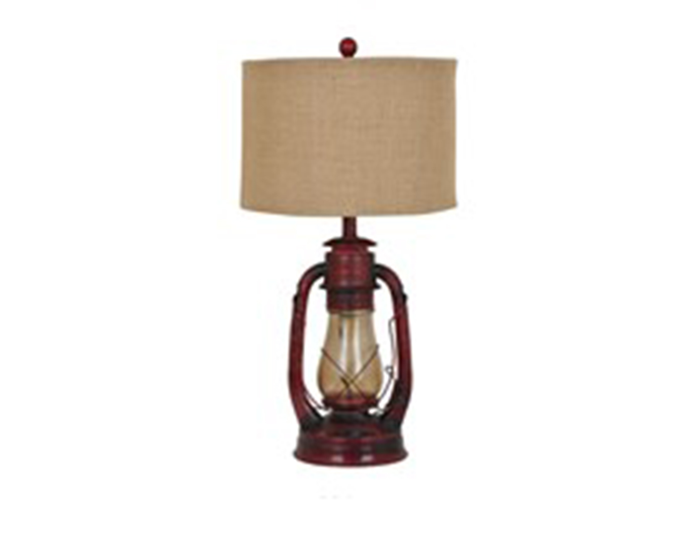 "Rustic Red Lantern Table Lamp 28""H"