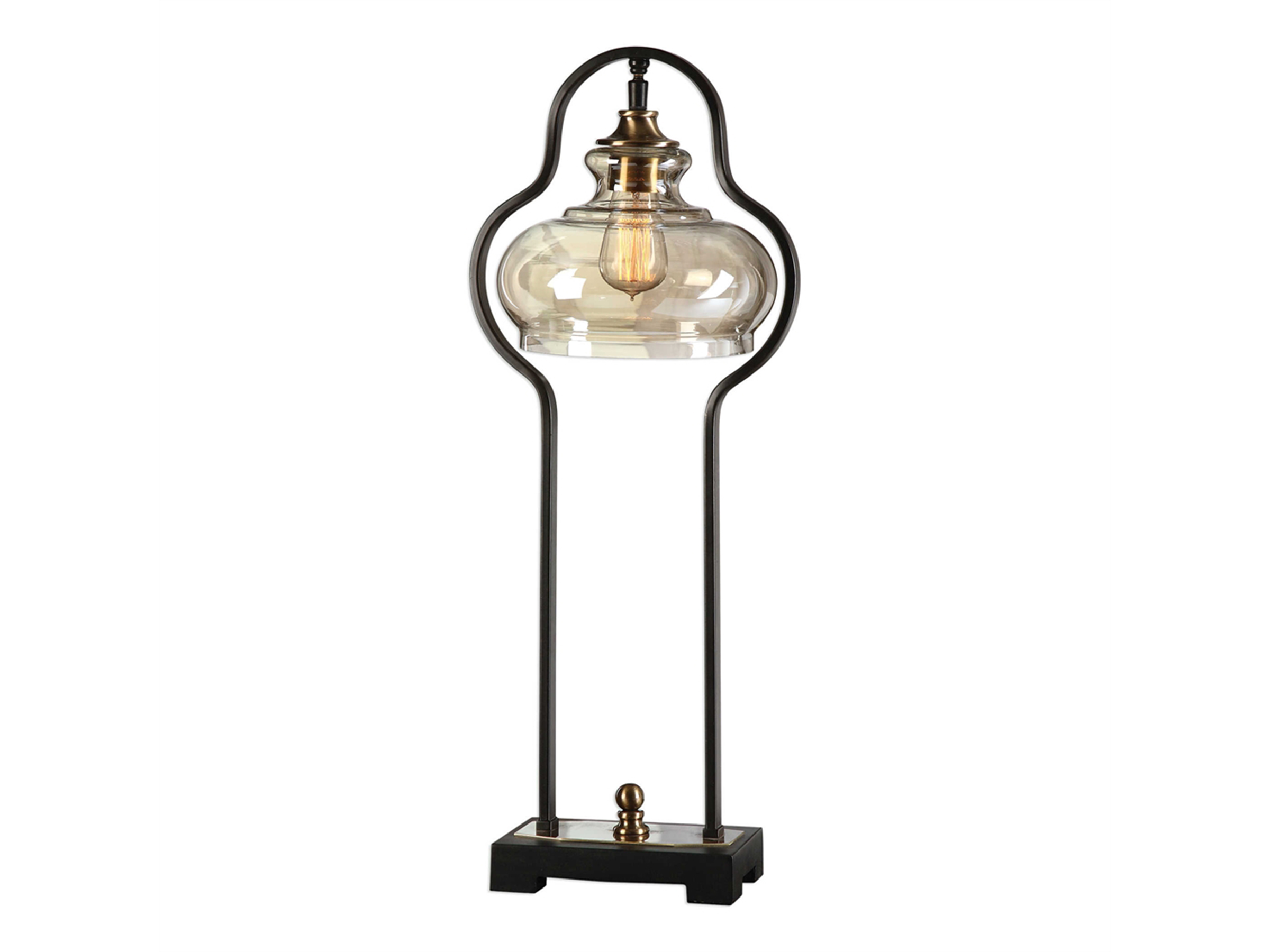 "Antiqued Iron and Glass Table Lamp 29""H"