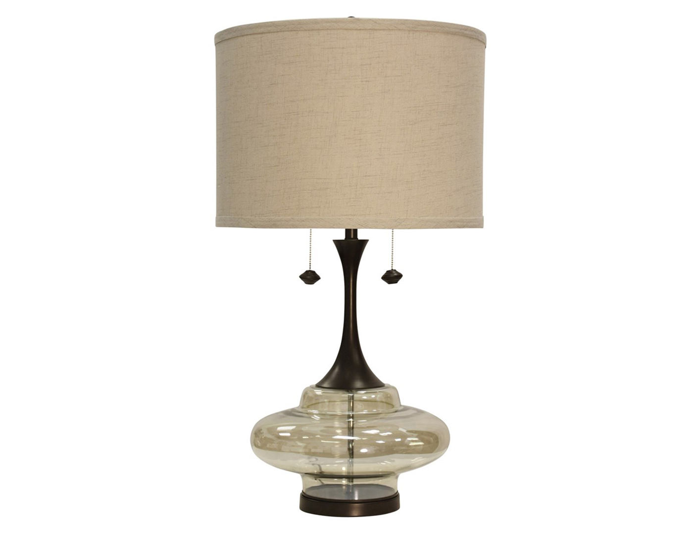 "Curved Glass and Steel Table Lamp 37""H"