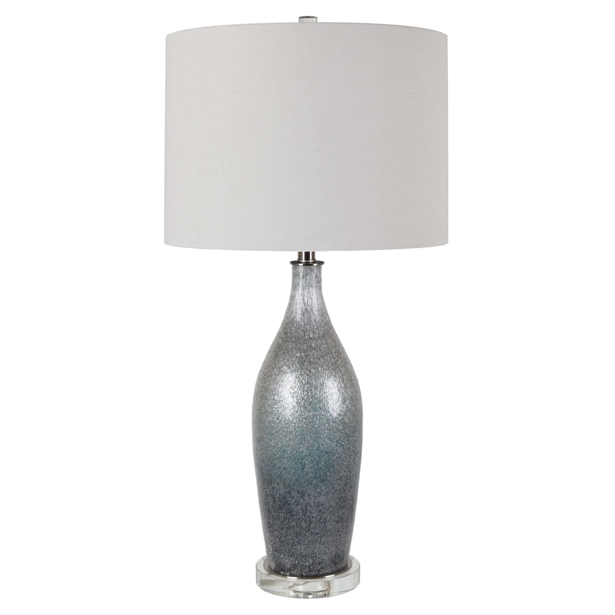 "Silver/Blue Glass Table Lamp 32.5""H"