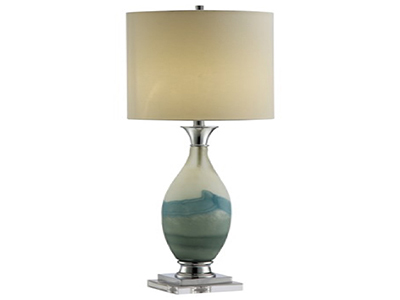 "Ivory/Blue/Green Glass Table Lamp 40.5""H"