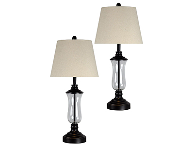"Set of Two Glass Bronze Table Lamps 30""H"