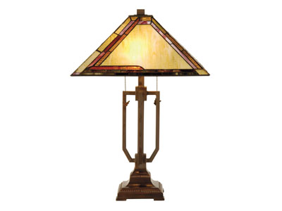 "Pair of Amber, Burgandy, and Green Tiffany-Style Glass Table Lamps 25""H"