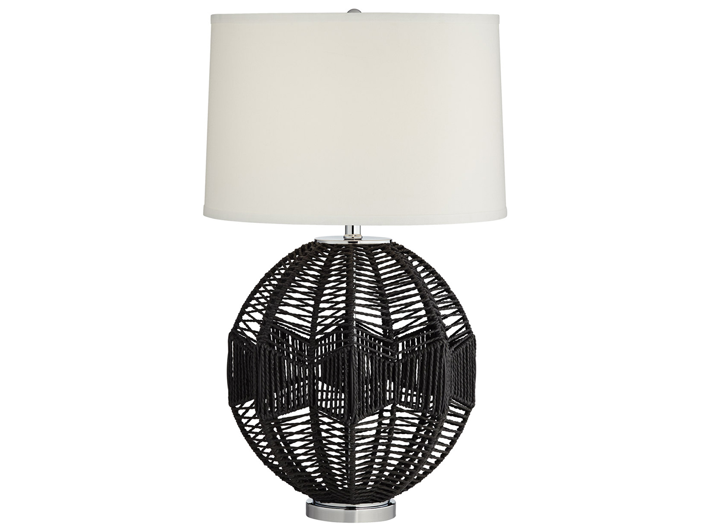 "Black Woven String Table Lamp 29""H"