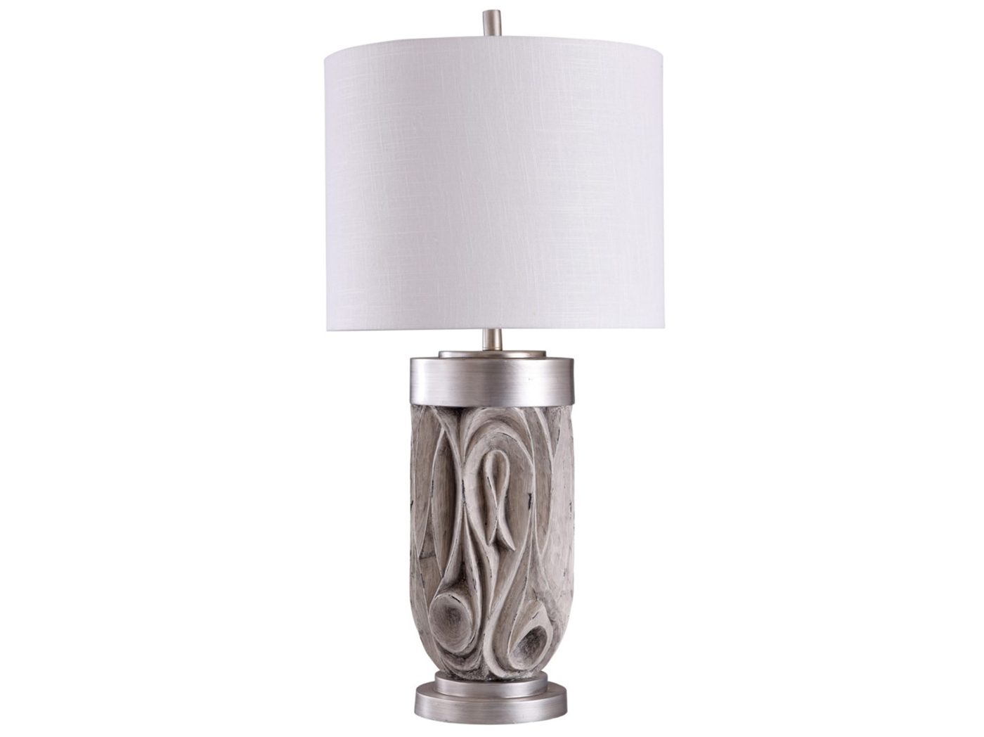 "Grey and Chrome Carved Table Lamp 35""H"