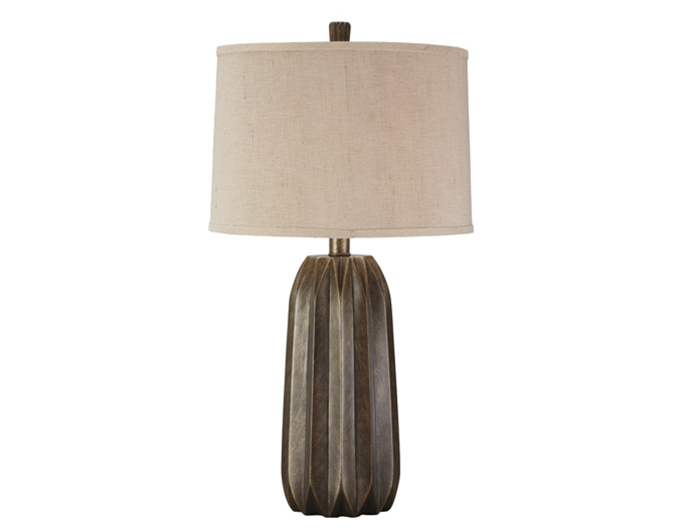 "Brown and Brushed Gold Table Lamp 30""H"