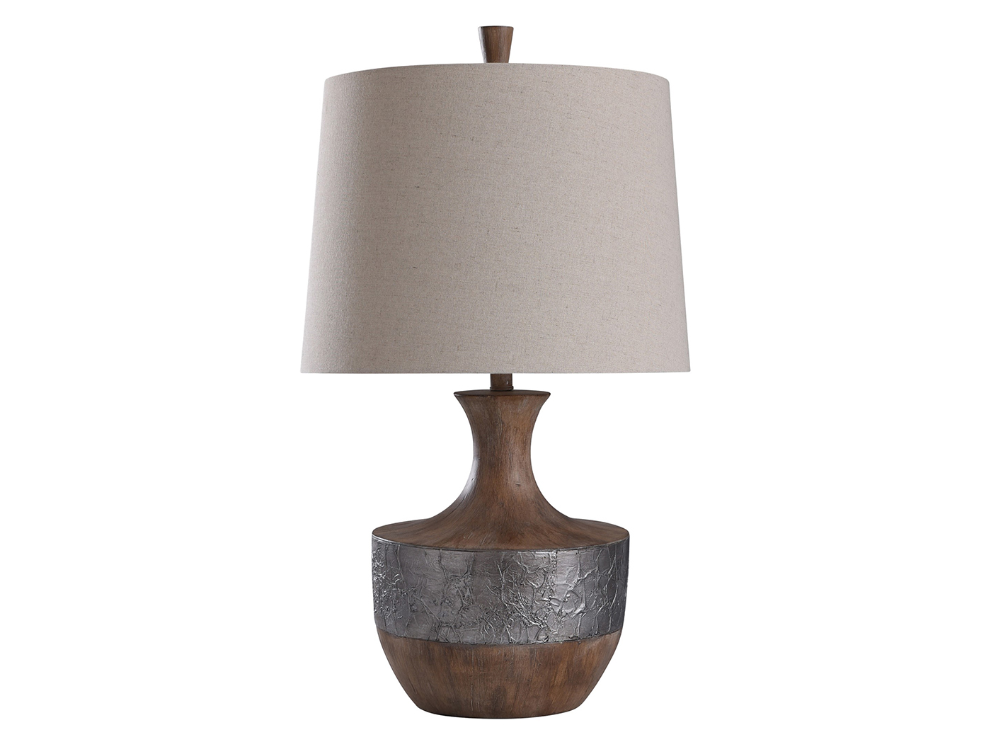"Wood Look with Silver Band Table Lamp 30""H"