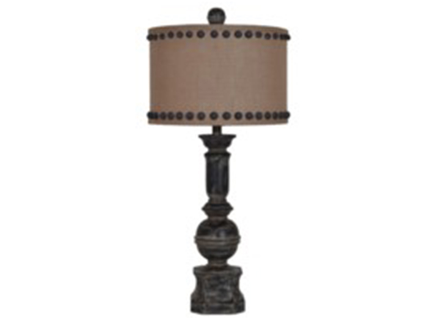 "Black Column Table Lamp 32""H"