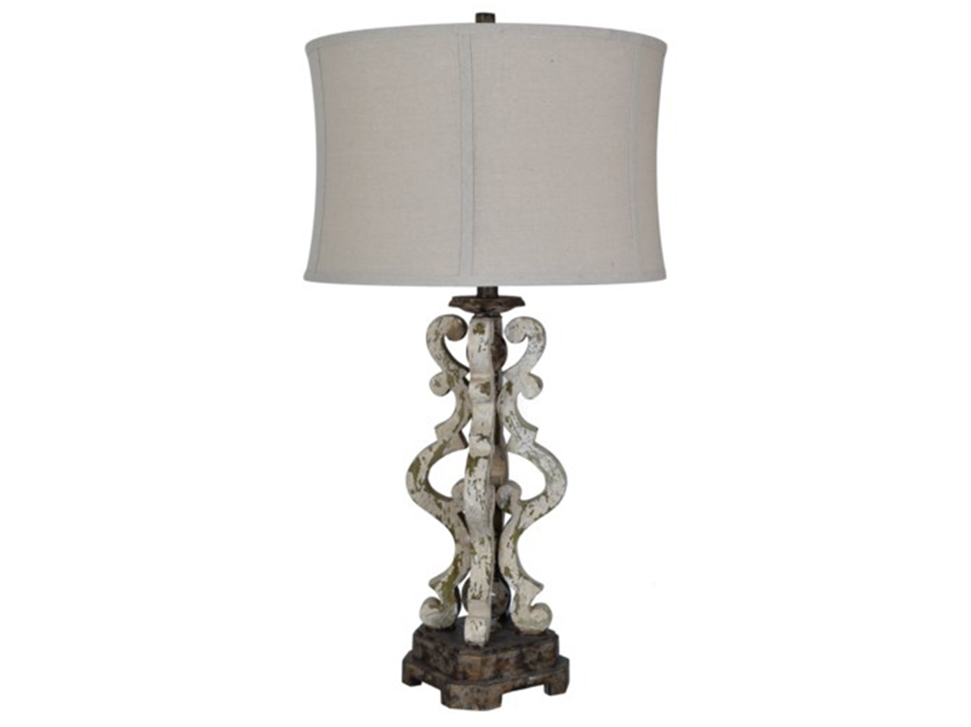"Distresses Green/Rust Table Lamp 32""H"