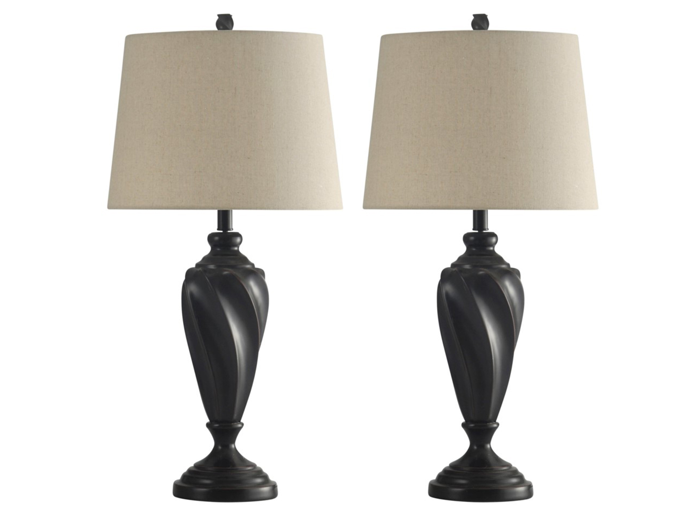 "Bronze Wood-Look Table Lamp Pair 30.25""H"
