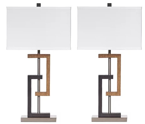 Two Tone Table Lamps Pair