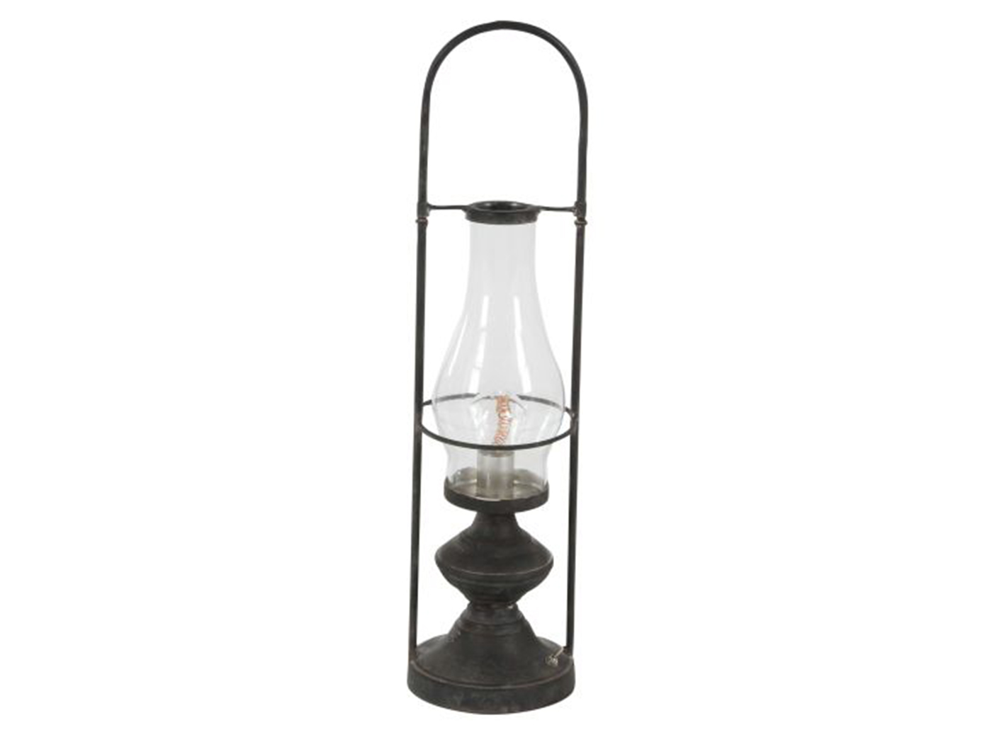 "Metal/Glass LED Lantern Table Lamp 20""W"
