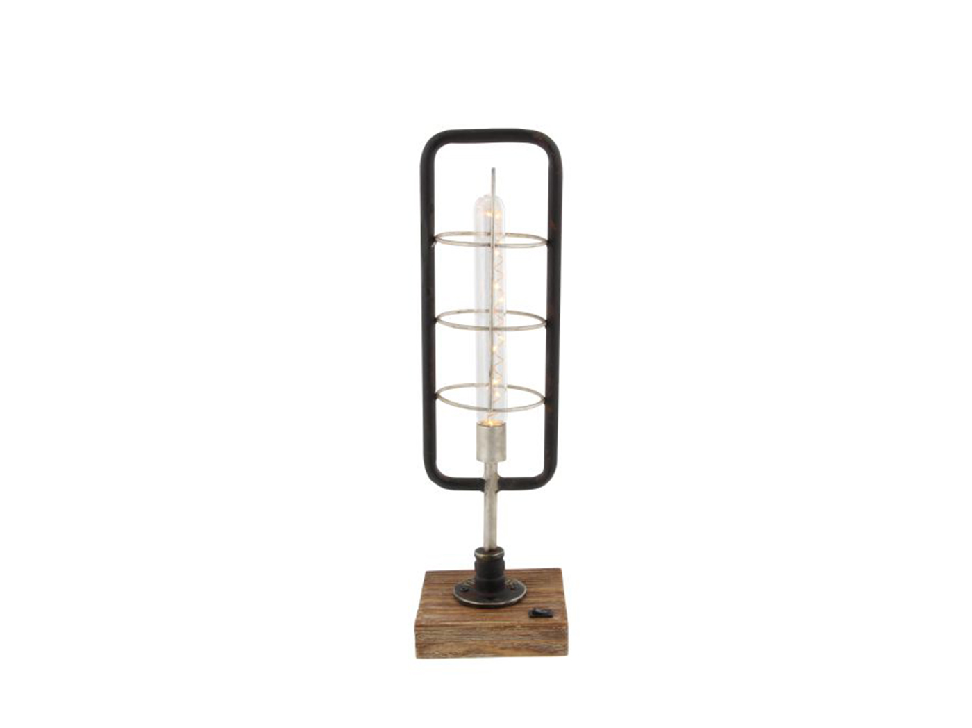 "Metal and Wood LED Table Lamp 5""W x 18""H"