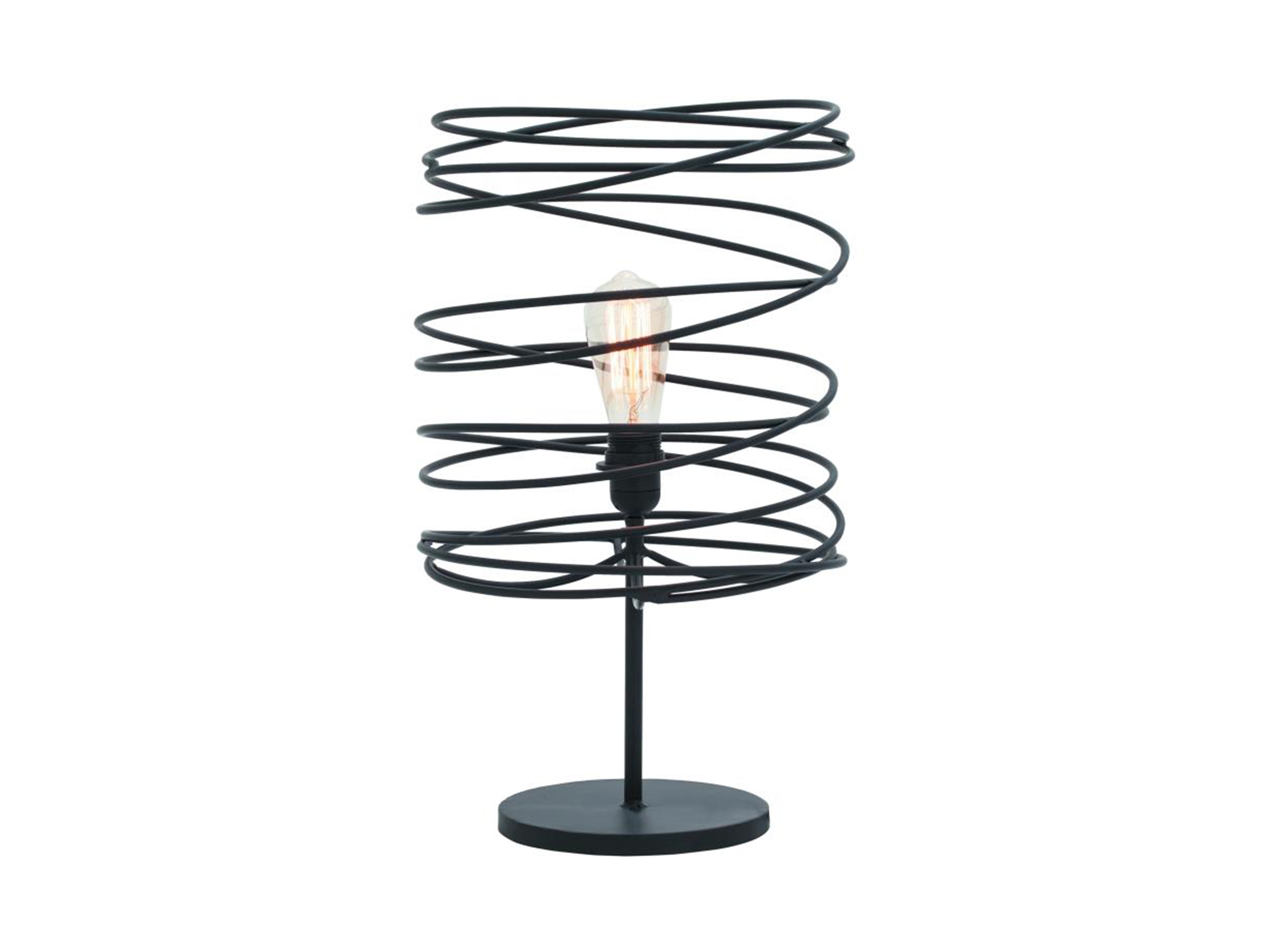 "Black Metal Spiral Accent Lamp 21""H"