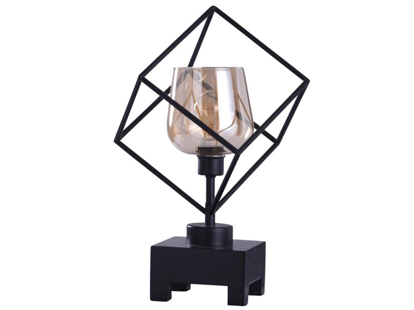 "Bronze Cube with Glass Shade Accent Lamp 20""H With Edison Bulb"