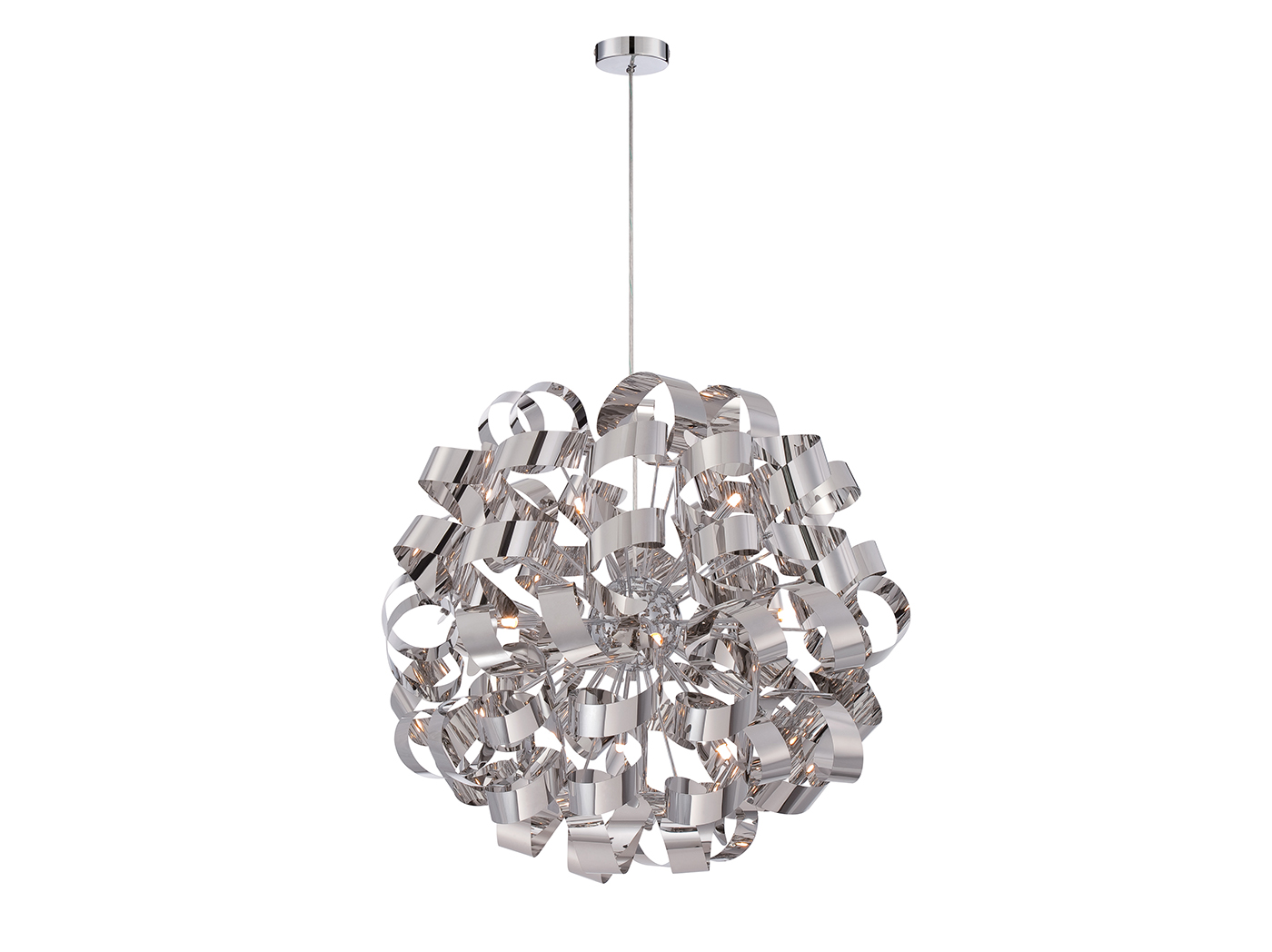 "X-Large Nickel Ribbons Chandelier 31""H"