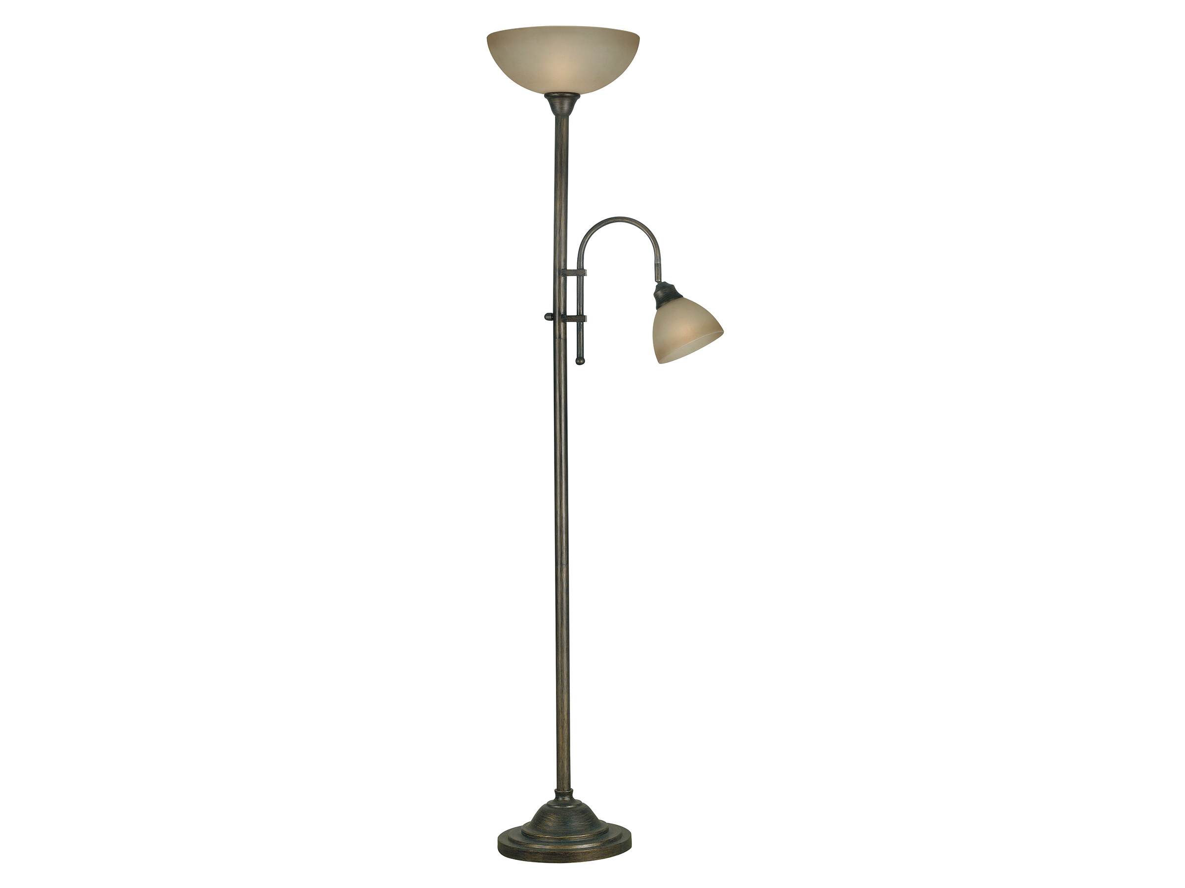 "Bronze With Glass Shades and Reading Light Torchiere 72""H"