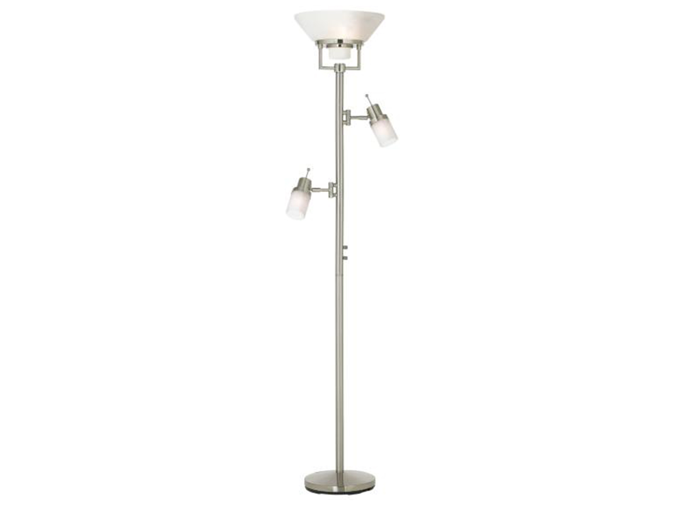 "Brushed Steel With 2 Reading Lights Torchiere 72""H"