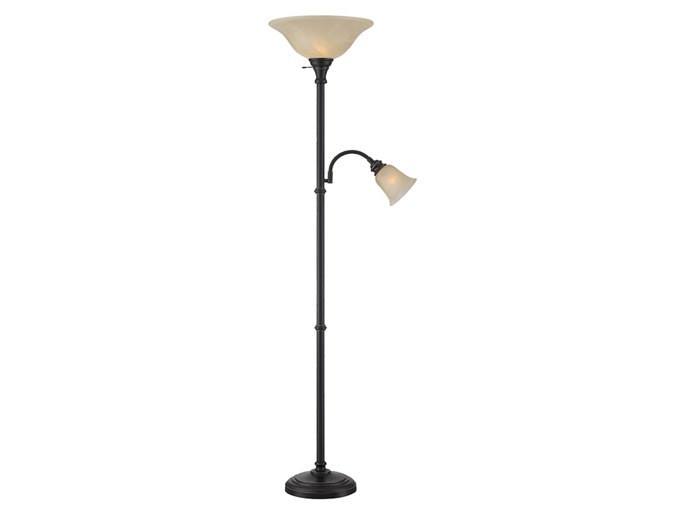 "Bronze Torch Lamp and Reading Light 72""H"