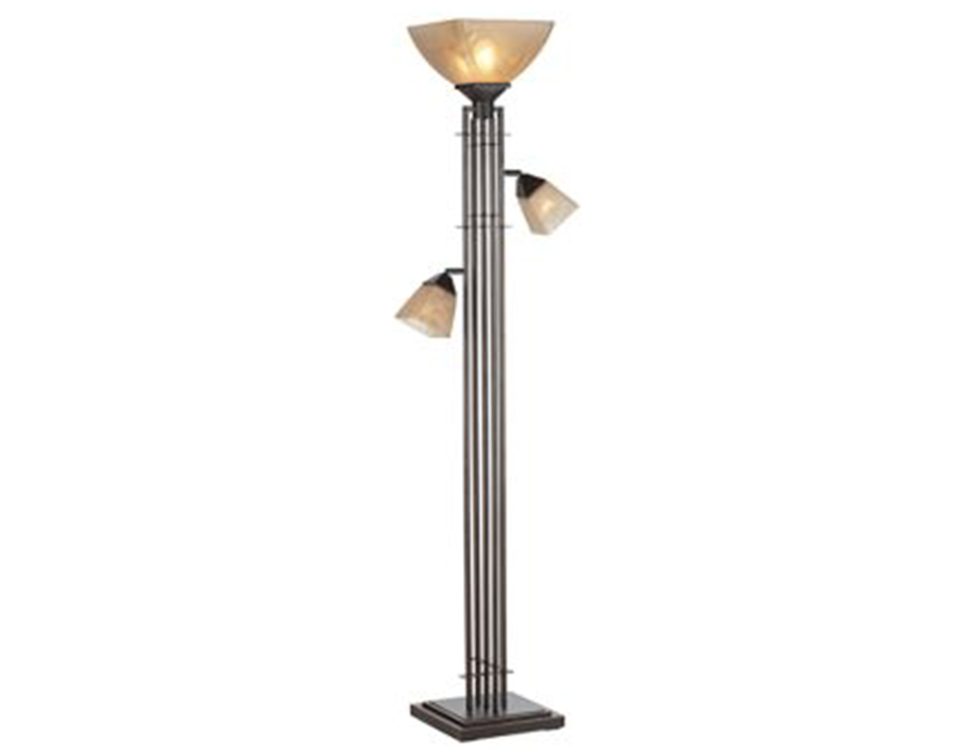 "Metal Architectural Lines With 2 Reading Lights Torchiere 72""H"