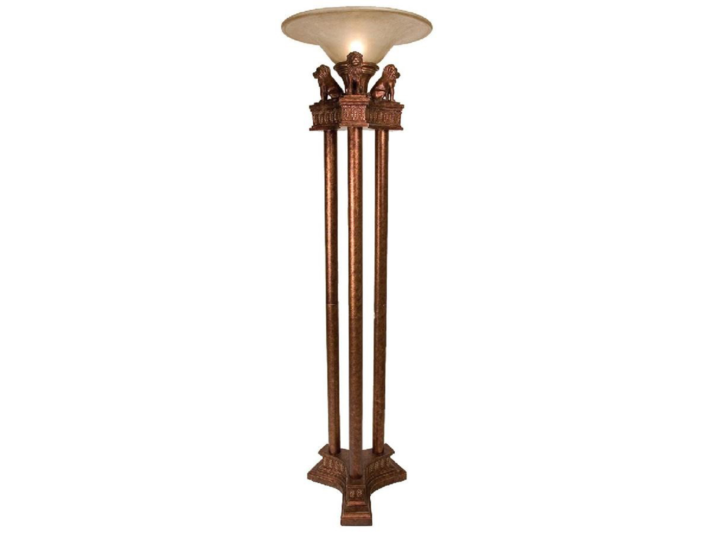 Amber Glass Shade Torchiere 71""