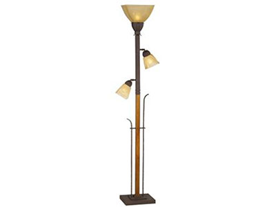 "3-Lite Metal and Wood With 2 Reading Lights Torchier 72""H"