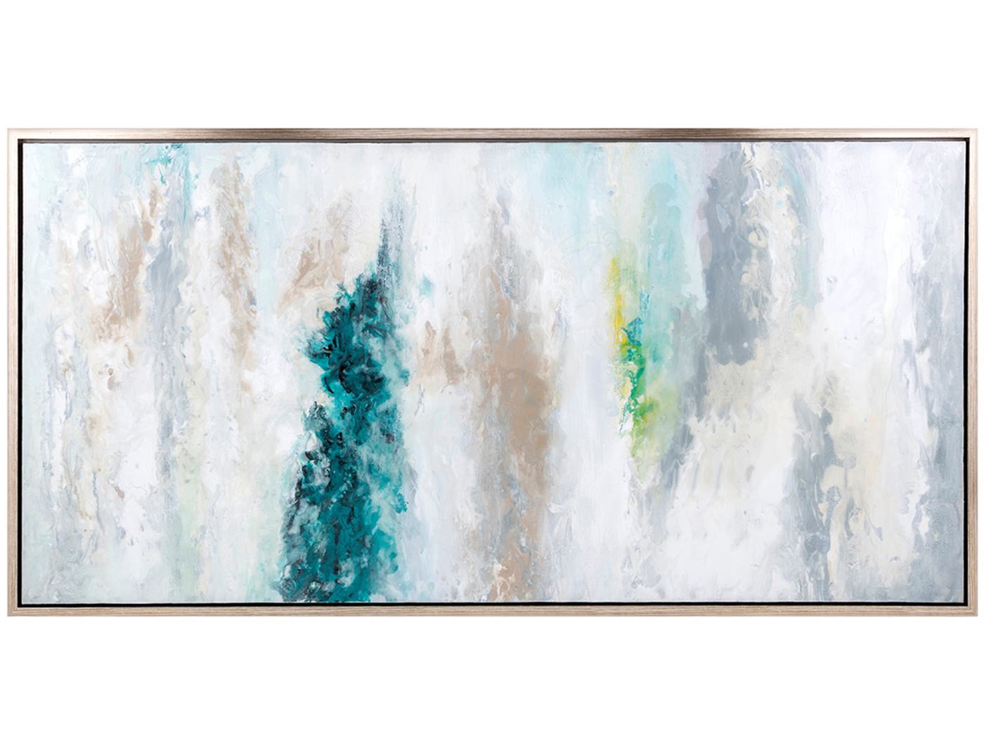 "Teal, White, and Grey Abstract Art 62""W x 32""H"