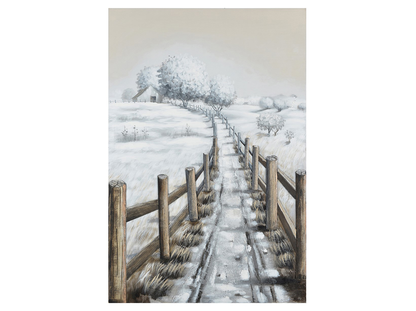 "Winter Fence Line Handpainted Canvas 39""W x 59""H"