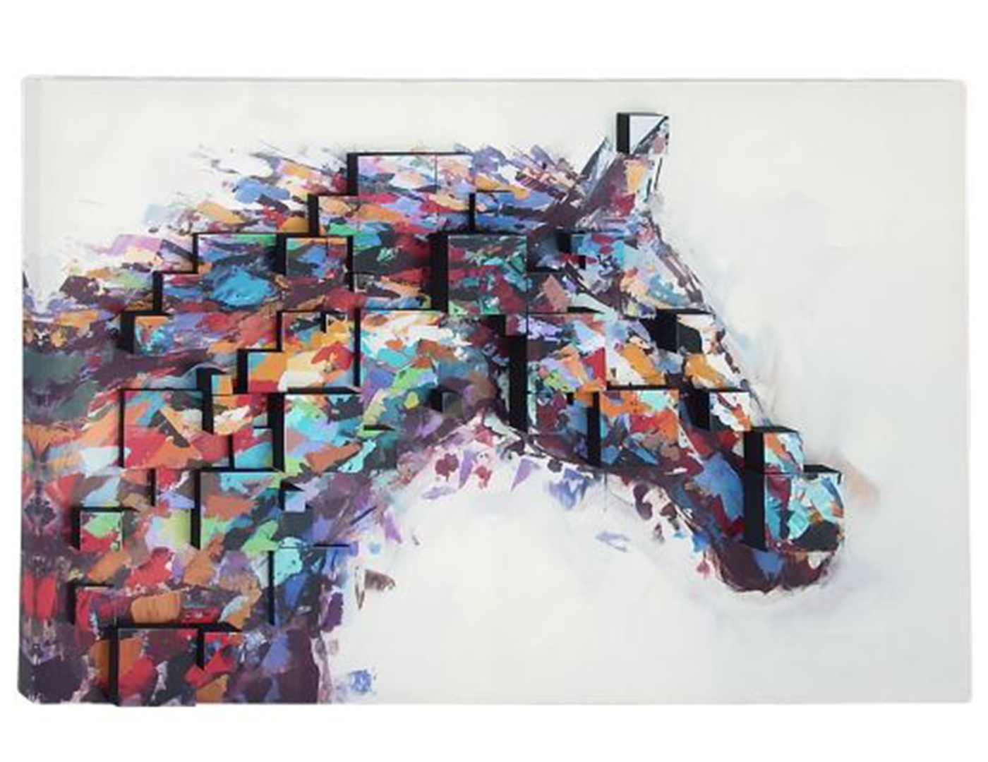 "Multi-Color Dimensional Horse Canvas Art 47""W x 32""H"