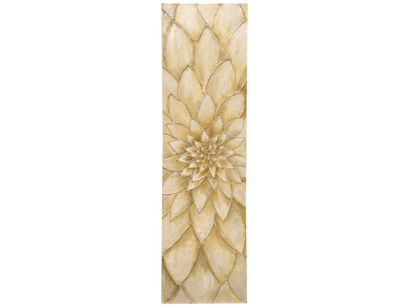"Ivory Floral Textured Handpainted Canvas 20""W x 72""H"